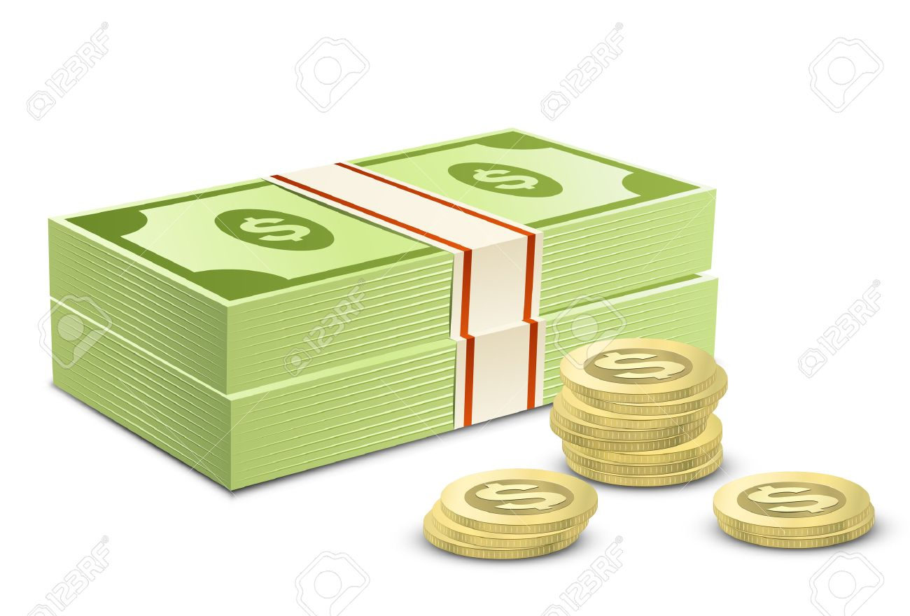 Pack of dollars and coins. Vector illustration of money Stock Vector - 8923747