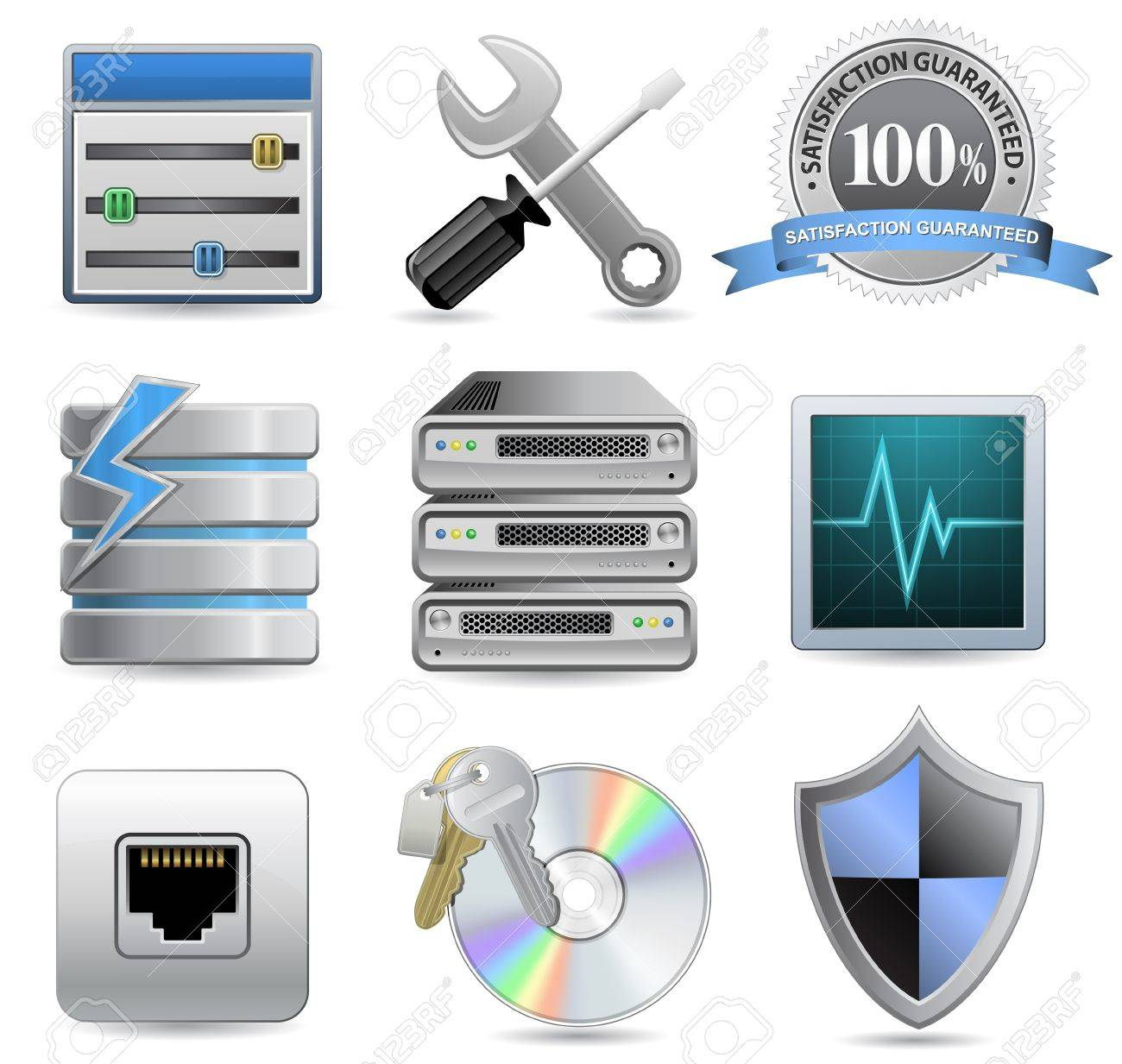 Web Hosting Icons for Hosting Panel Stock Vector - 9590248