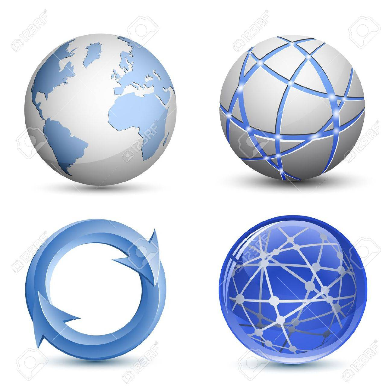 Abstract Globe Icons Set. Vector Illustration Stock Vector - 9933315