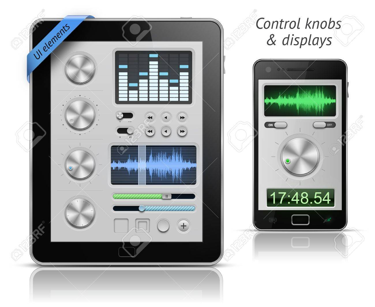 UI elements for tablets and smartphones. Control knobs and displays. EPS 10 vector illustration Stock Vector - 10080953