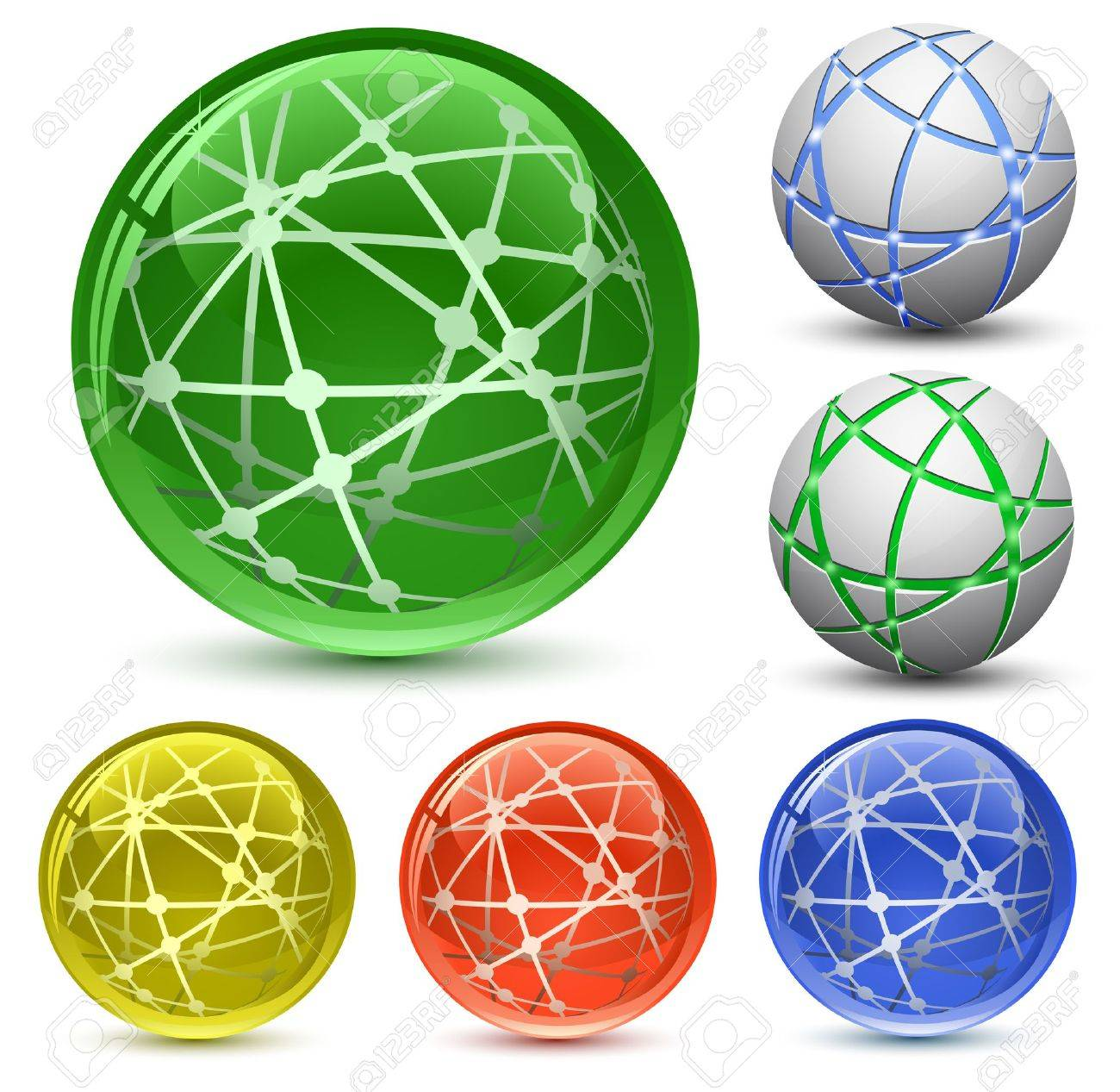 Abstract Globe Icon Set. Communication and Network Concept. Vector Illustration EPS8 Stock Vector - 10445599