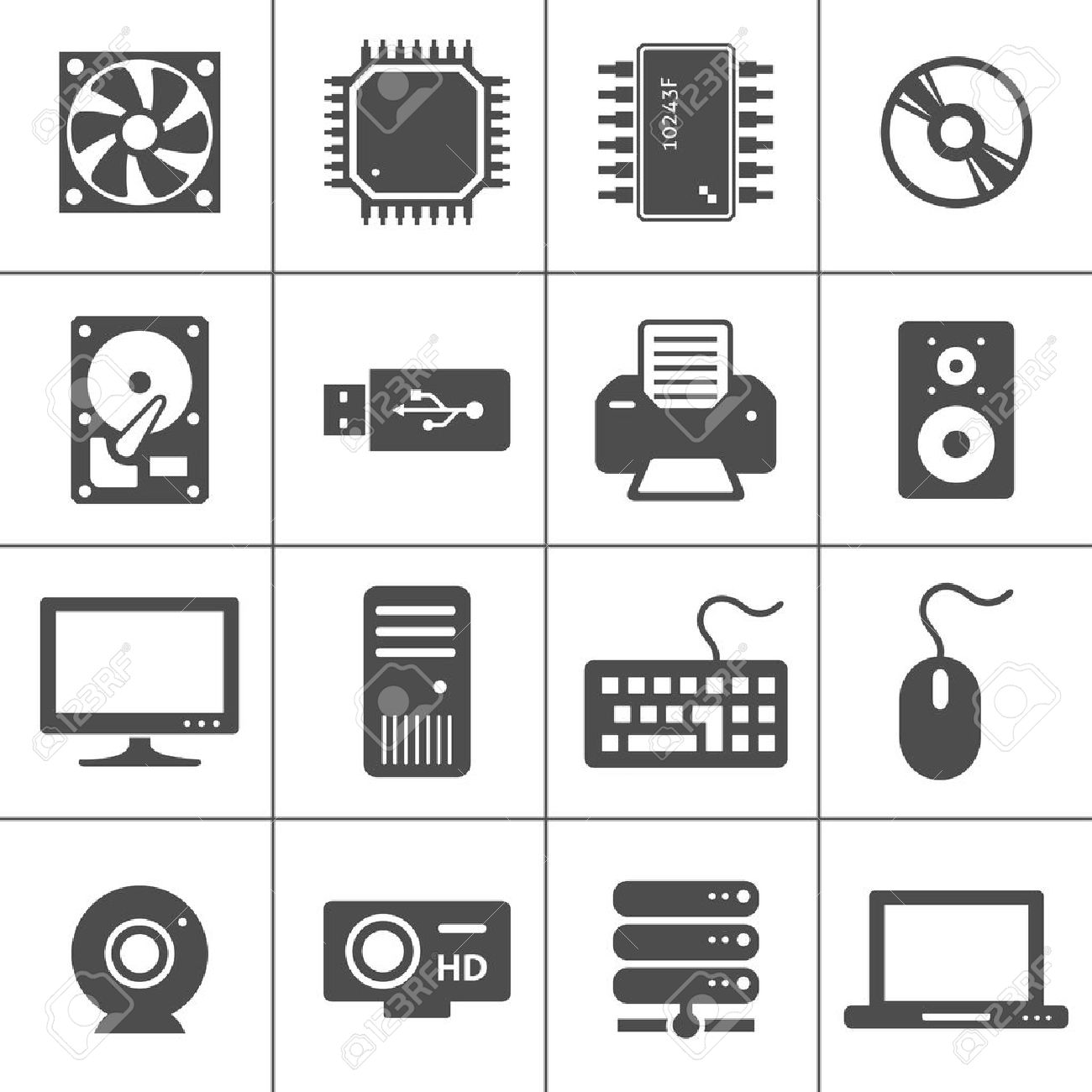 Computer Hardware Icons  PC Components  Each icon is a single object  compound path Stock Vector - 15363997