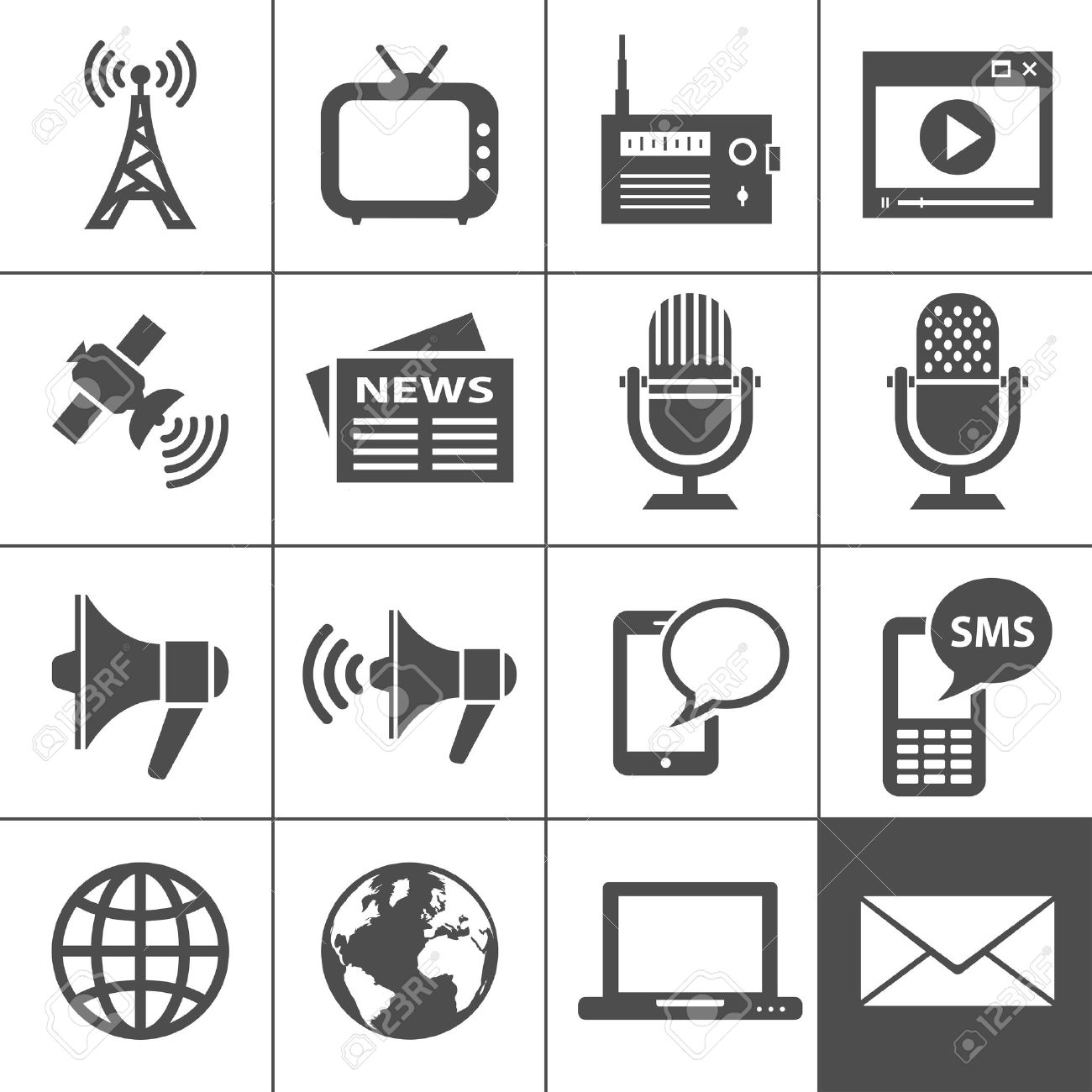 Media Icons  Each icon is a single object Stock Vector - 15539790