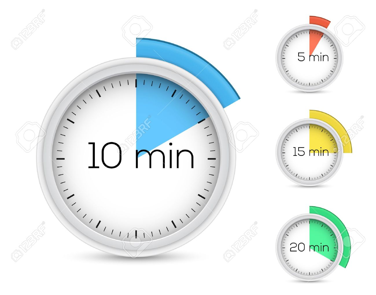 Set Of Timers 5, 10, 15, 20 Minutes Illustration Royalty Free ...