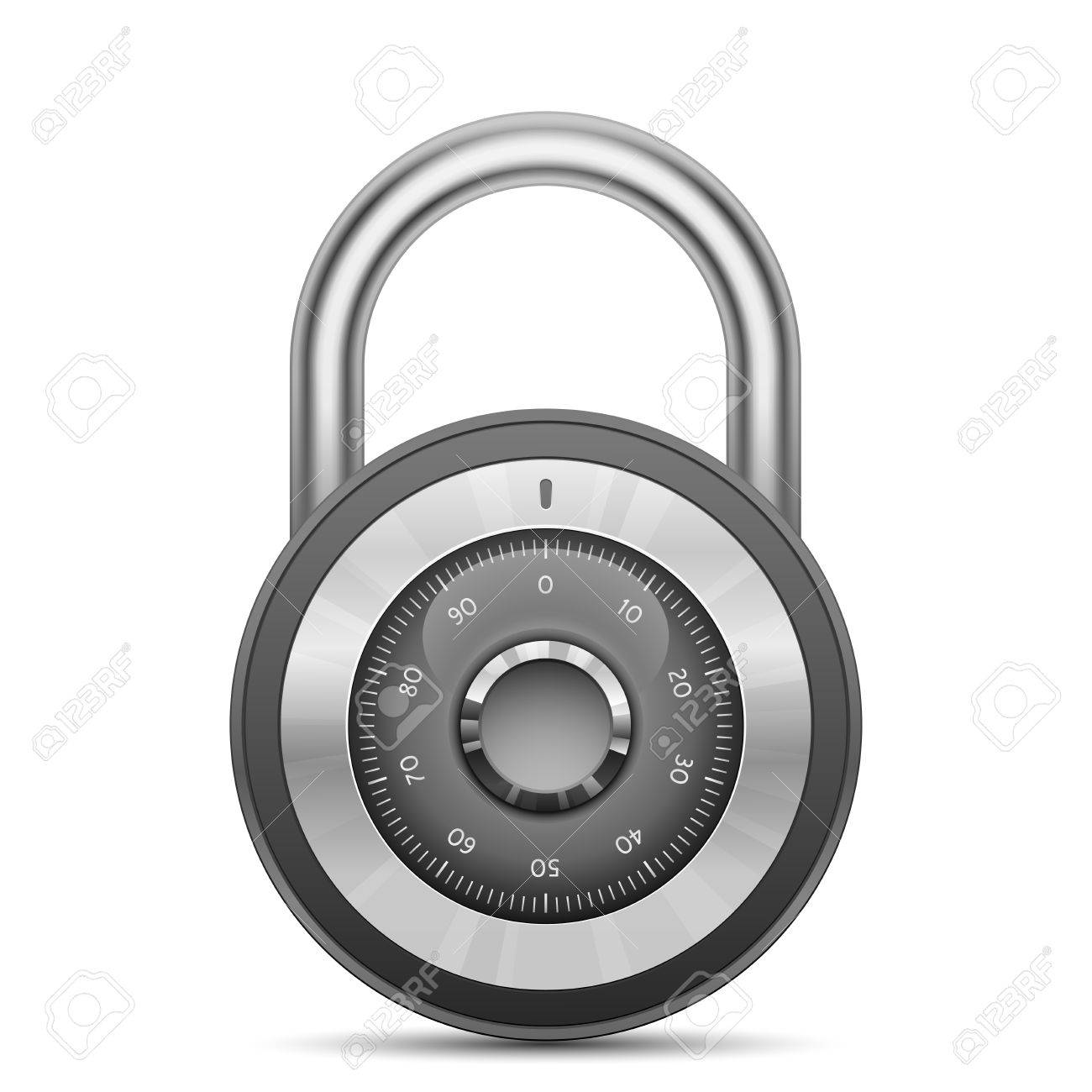 Security combination lock. Vector illustration of padlock Stock Vector - 23865805