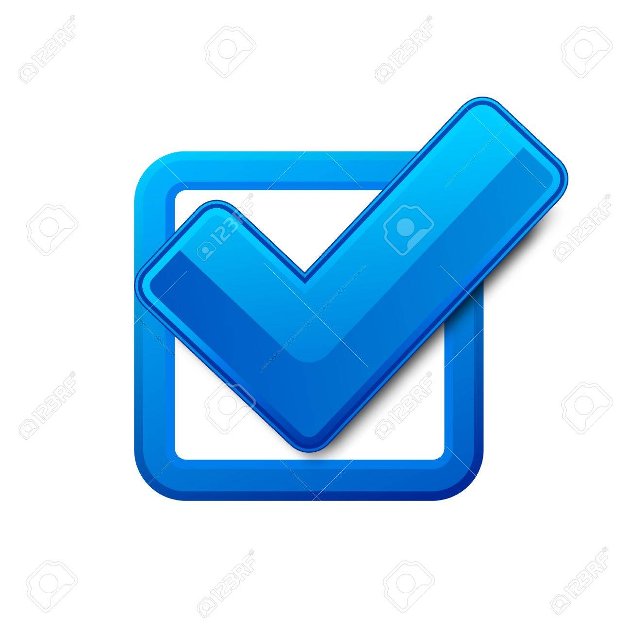 Blue Check Box And Check Mark Vector Illustration Royalty Free