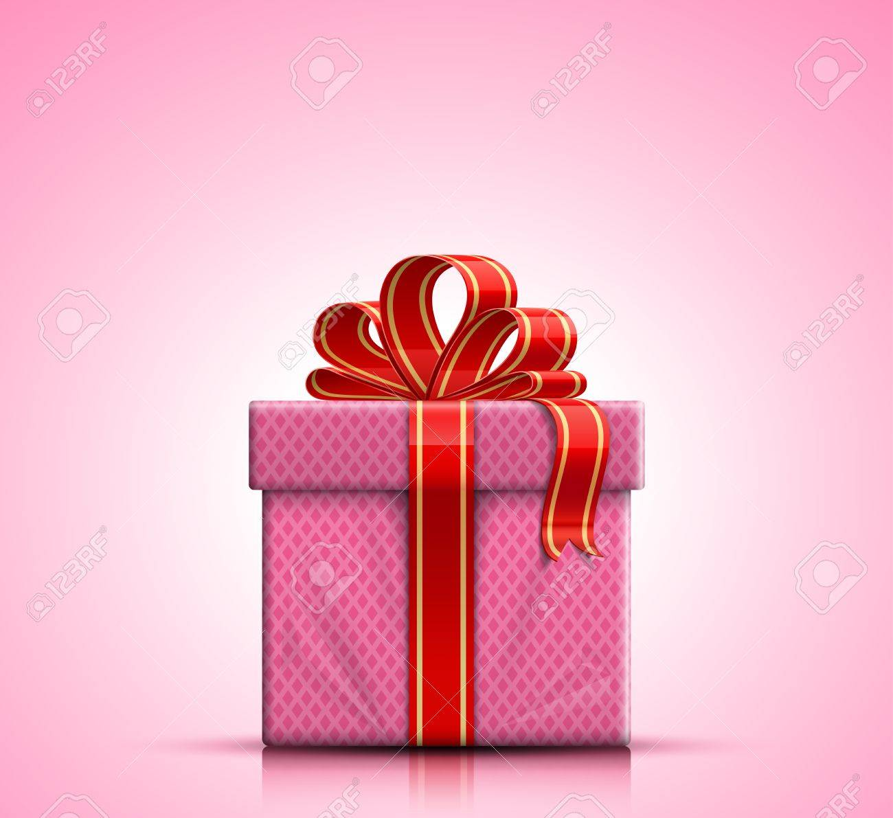 Valentine Gift Box With Red Ribbon And Bow On Pink Background