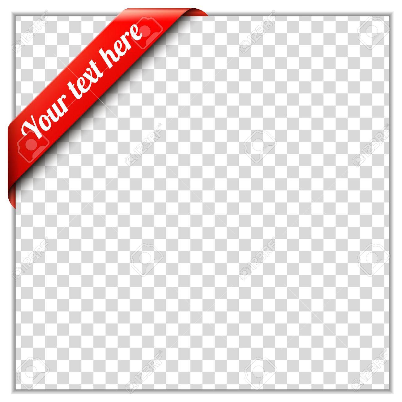 Rote Ecke Ribbon-Vorlage Mit Weißem Papier Rahmen Und Transparentem ...