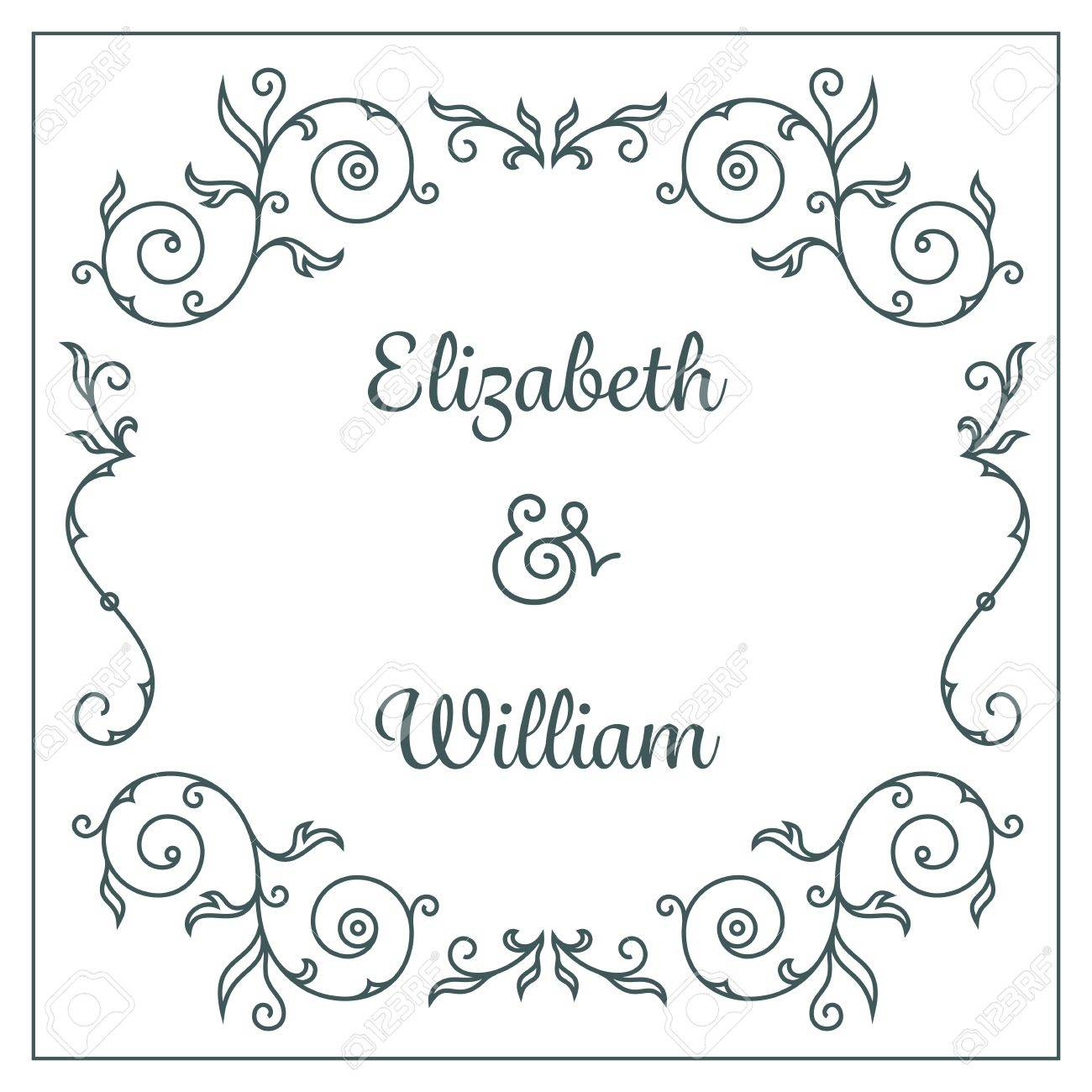 Wedding ornaments - Letterpress Wedding Invitation Card Template With Floral Ornaments And Custom Ampersand Stock Vector 30879162