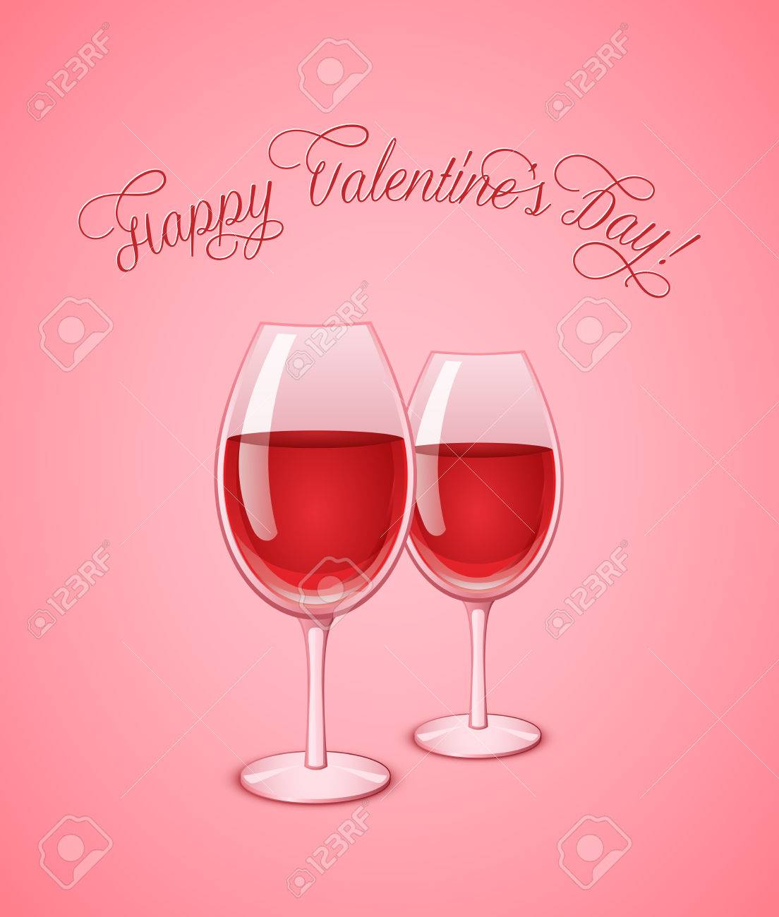 valentine wineglasses with red wine on pink background wine glass vector illustration stock vector - Valentine Wine Glasses