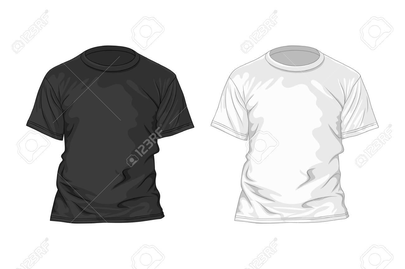 Schwarz-Weiß-T-Shirt-Design-Vorlage. Vektor-Illustration Lizenzfrei ...
