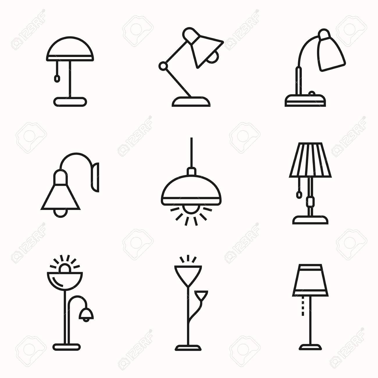 icon lighting. Interesting Lighting Light Fixture Linear Icon Set Lamps And Lighting Devices Simple Outlined  Icons Linear To Icon Lighting