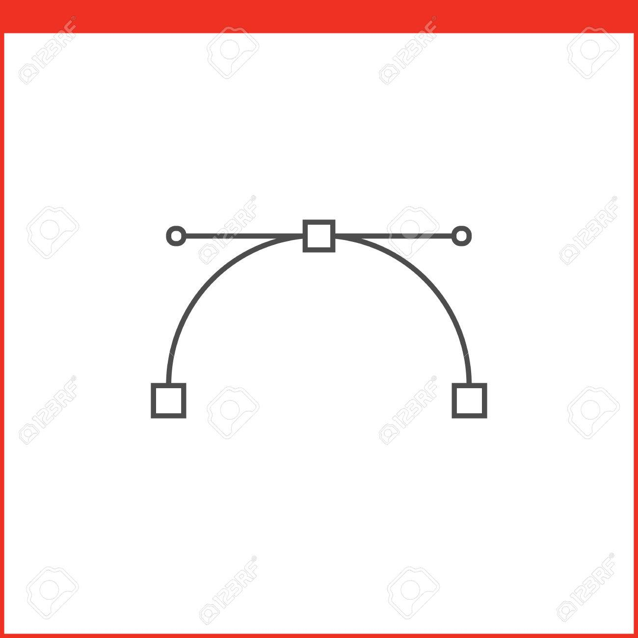 Bezier curve tool icon  Vector graphics designer tool  Simple