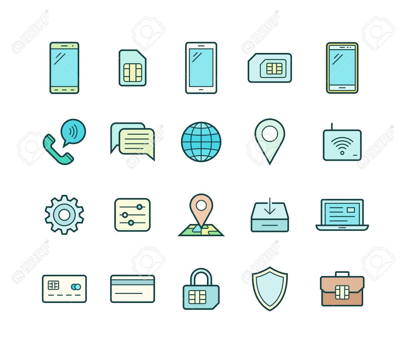 Mobile Network Operator Or Wireless Service Provider Icons. Vector ...