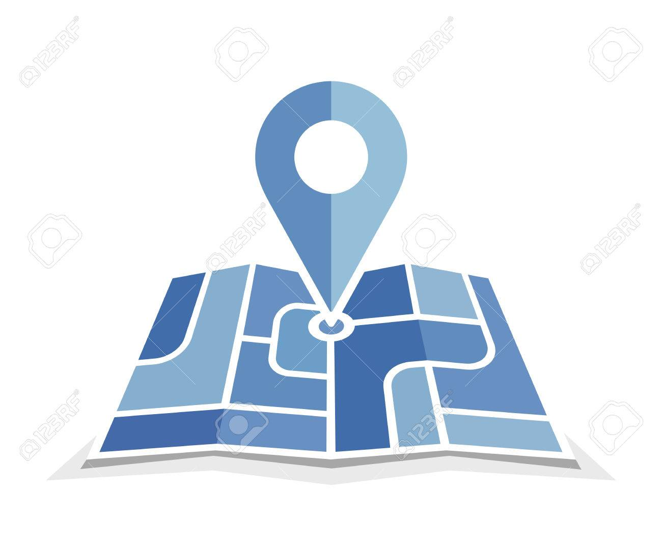 Blue Map And Pin Icon. Vector Icon For Contact Web Page. Map ...