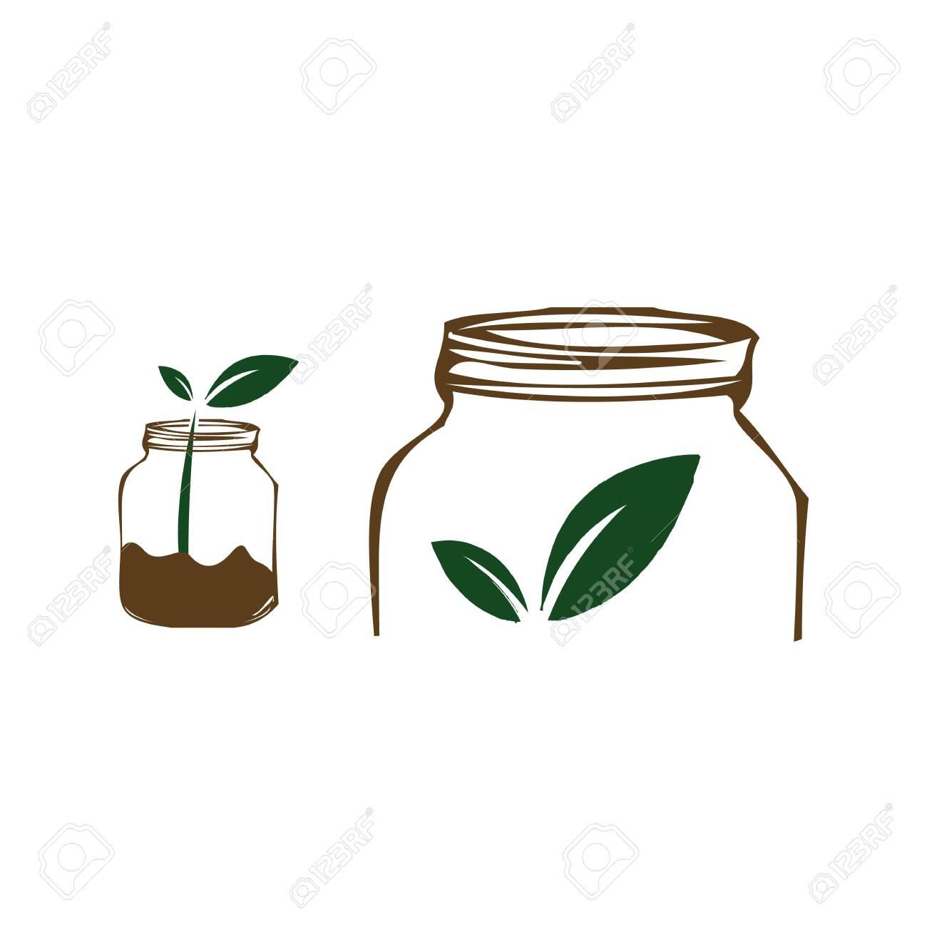 128657486 jars and leaf concept an organic food logo design vector illustrations