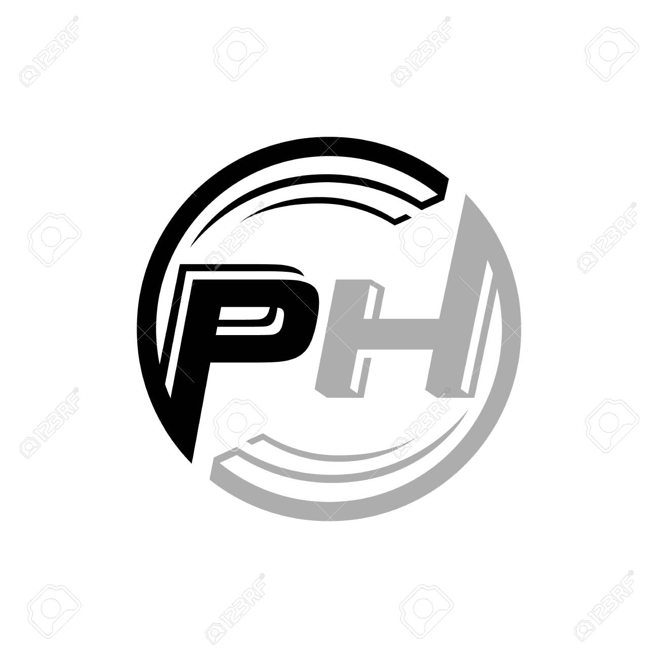 Modern Fitness Abstract People Letter Ph Logo Vector Inspirations Royalty Free Cliparts Vectors And Stock Illustration Image 128955820