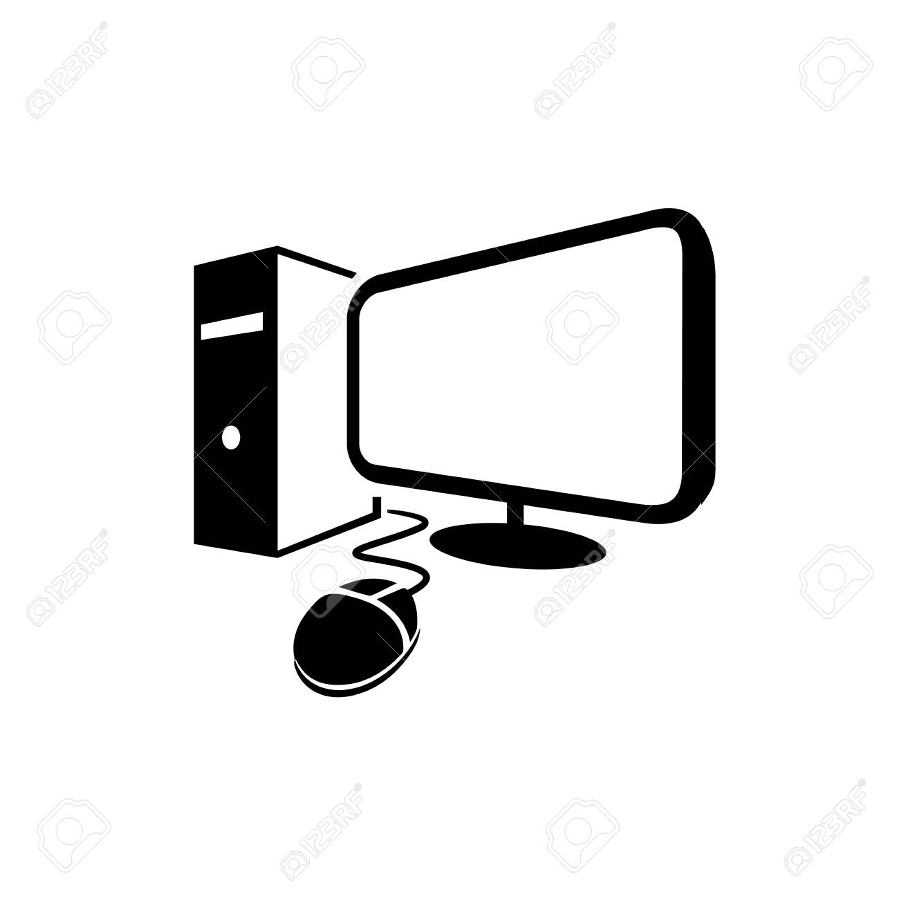 Simple Black Color Desktop Computer Vector Logo Icon Illustrations Royalty Free Cliparts Vectors And Stock Illustration Image 142987163