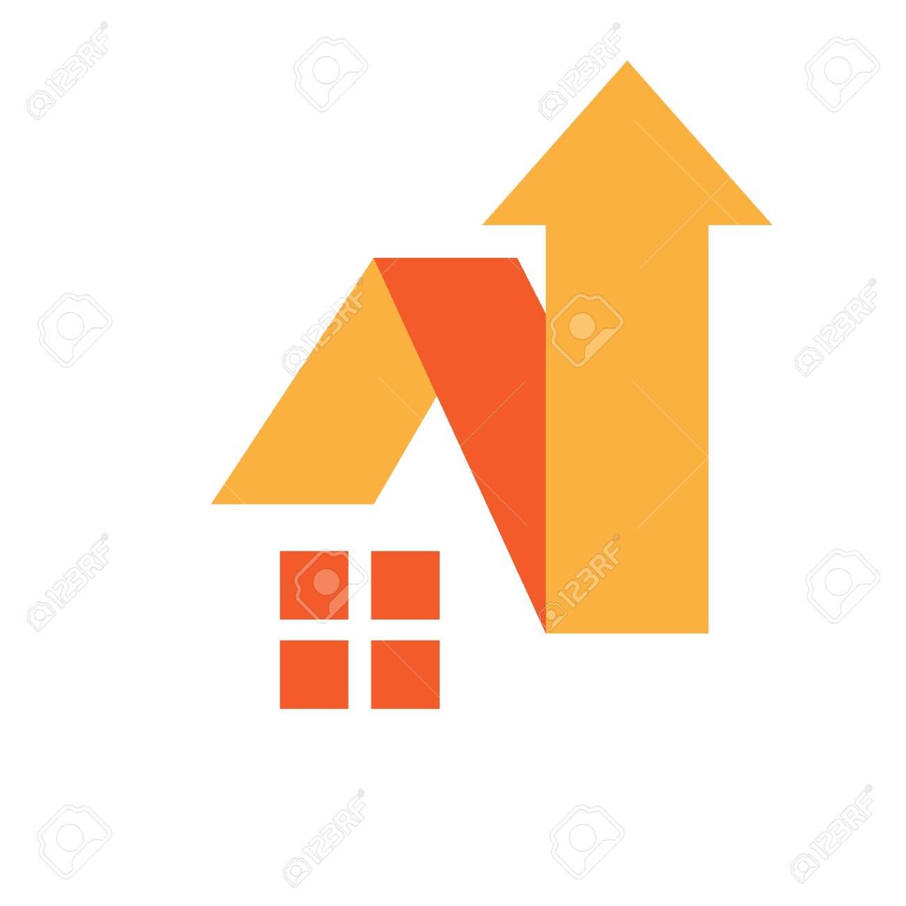 House And Roof Sign With Up Arrow Symbol Home Improvement Logo Royalty Free Cliparts Vectors And Stock Illustration Image 141591091