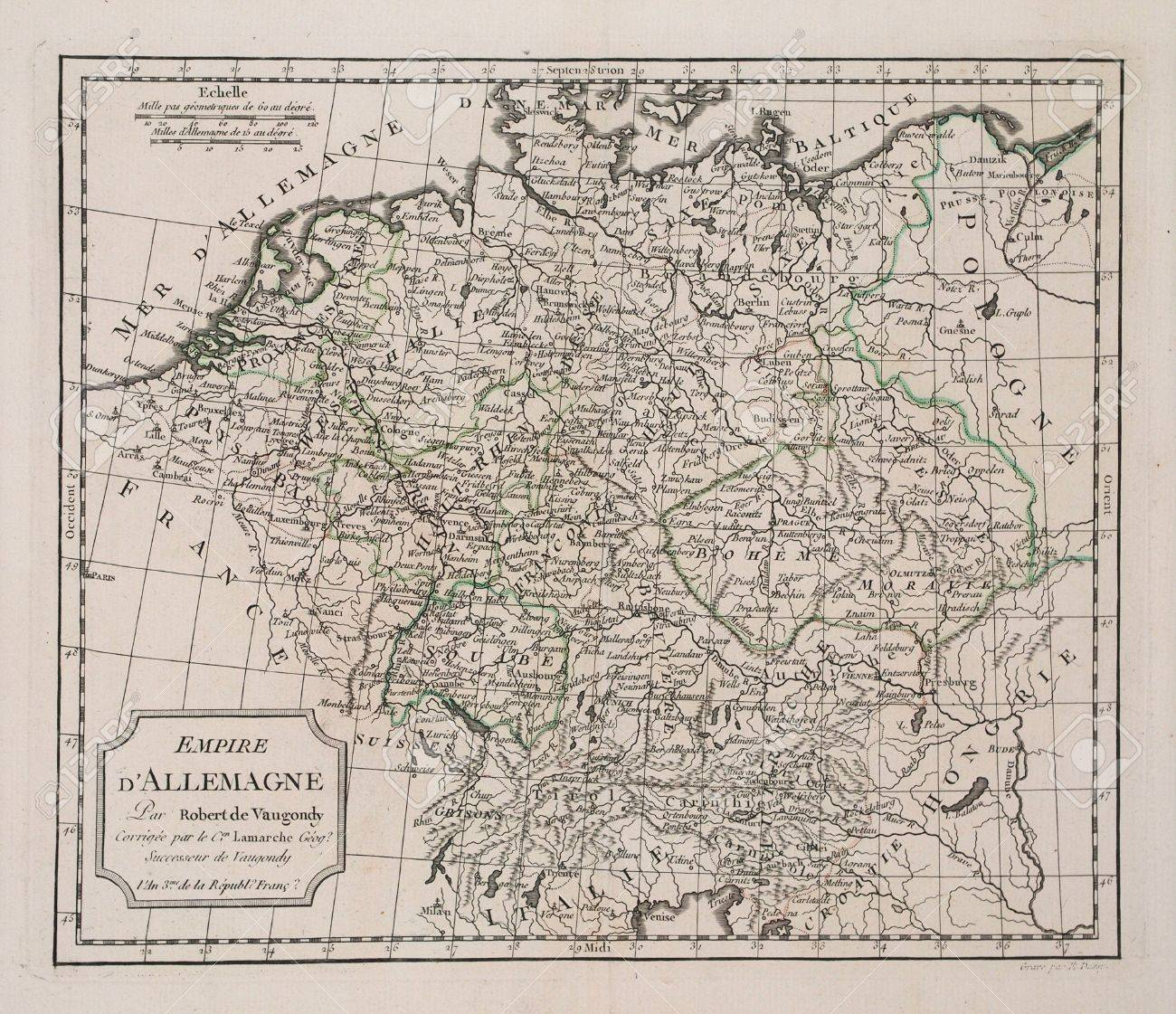 Year Of The French Revolution Map Of Germany Stock - Germany map by year