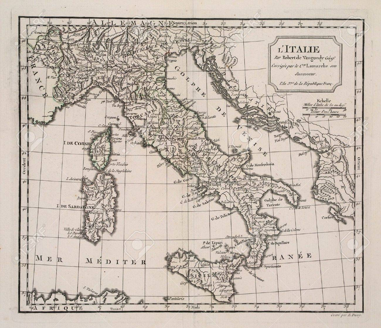 year 3 of the french revolution ( 1791) map of Italy. Stock Photo - 11425712