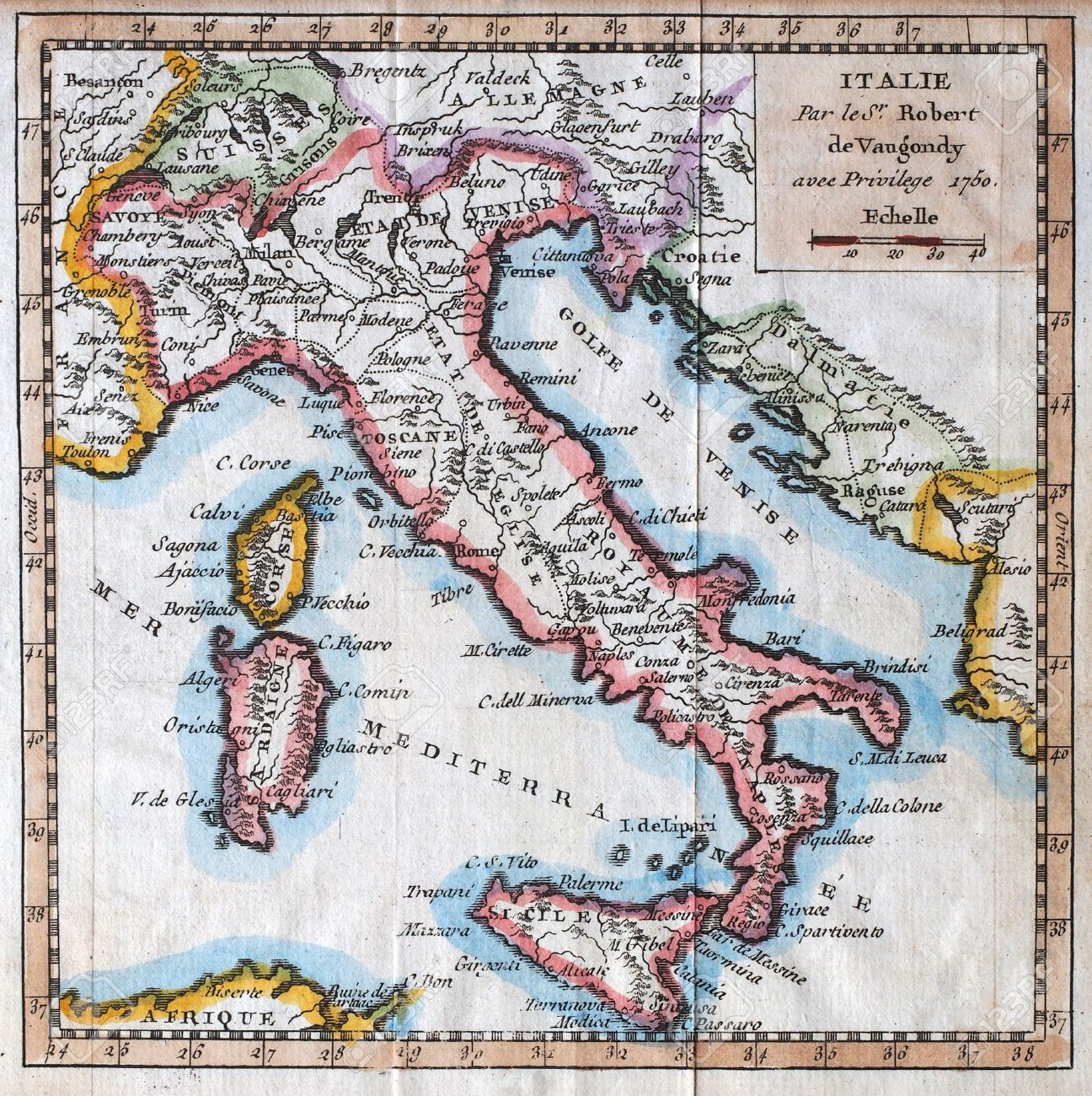 Map Of France N Italy.Colored Xviiith Century Italy Map By Royal French Geographer