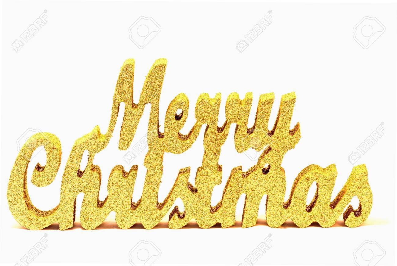 Gold Glitter Merry Christmas Sign Stock Photo, Picture And Royalty ...