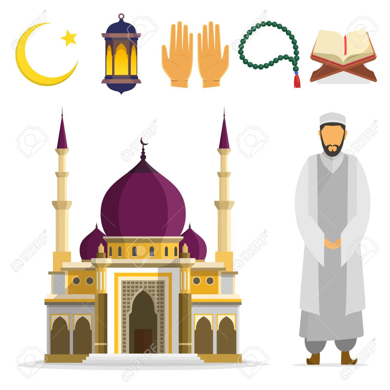 Set Of Islamic Religious Symbols And Ritual Objects Ramadan