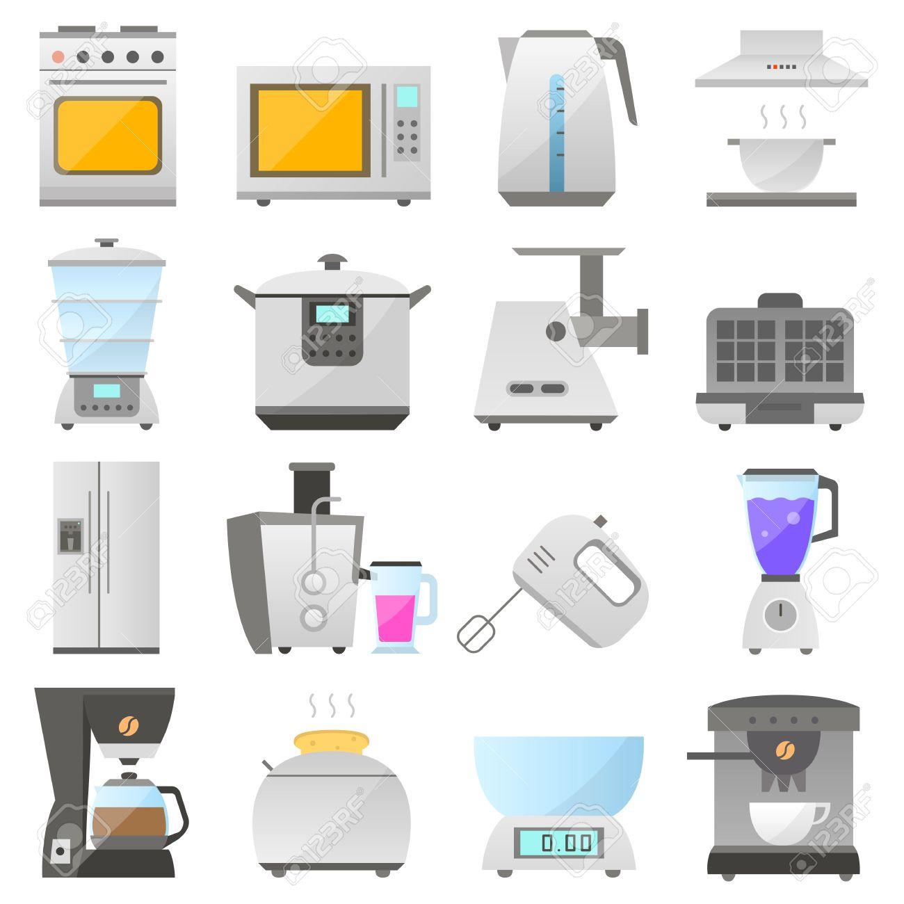 Grande Set Di Icona Moderna Di Elettrodomestici Da Cucina Isolato ...