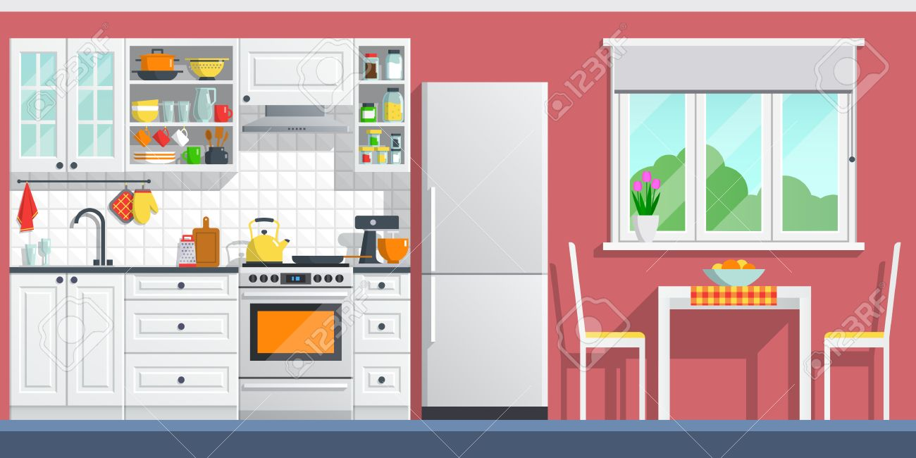Interior De La Cocina Con Mesa Cocina Alacena Platos Y Nevera