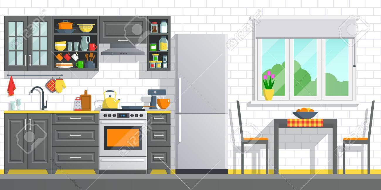 Kitchen Appliances With Black Interior On White Break Wall ...