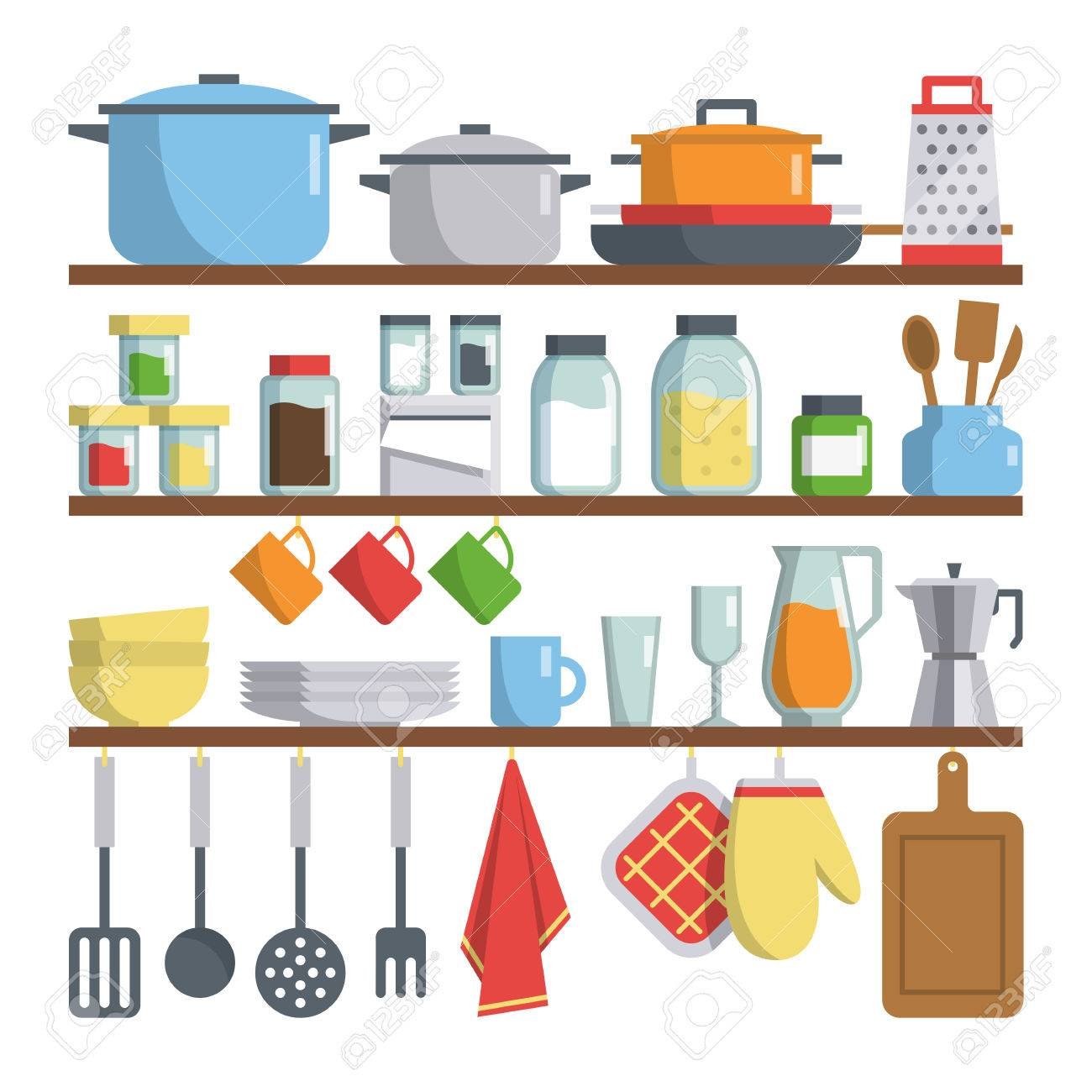 Set Von Vektor Küche Ausrüstungen Auf Regal Isoliert Auf Weißem ...