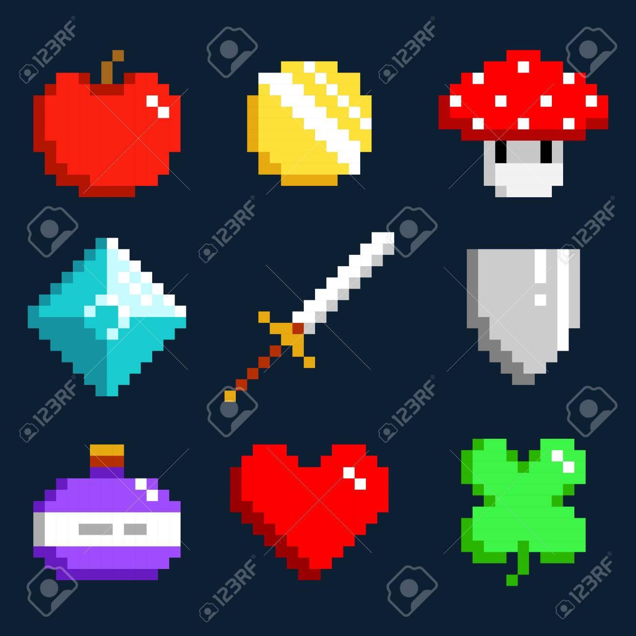 Ensemble De Vecteur Pixel Art Minimaliste Objets Isolés Jeu 8 Bits Style Pixel Minimalistic Symboles Graphiques Collection De Groupe Pomme Pièce