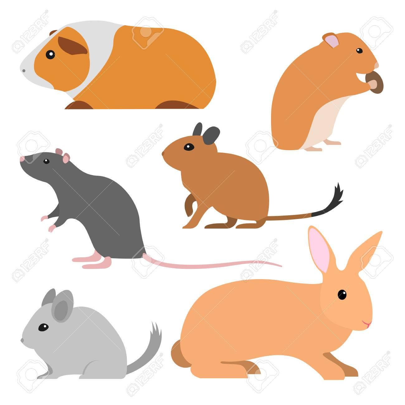 かわいい齧歯動物のセットは漫画のスタイルは孤立した小さな家畜を