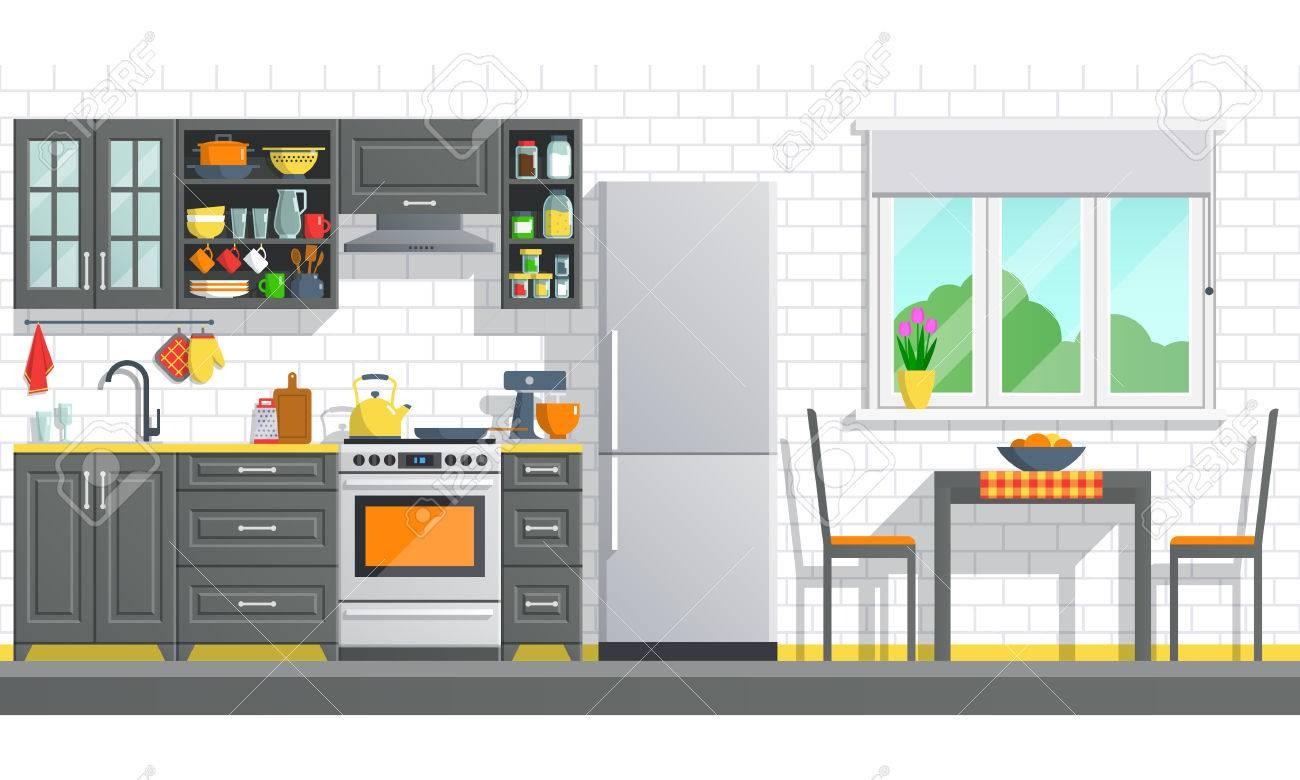 Appareils De Cuisine Avec Intérieur Noir Sur Fond Blanc Mur De Rupture Illustration De L Art à L Art Plat Meubles De Cuisine à L Intérieur Bannière