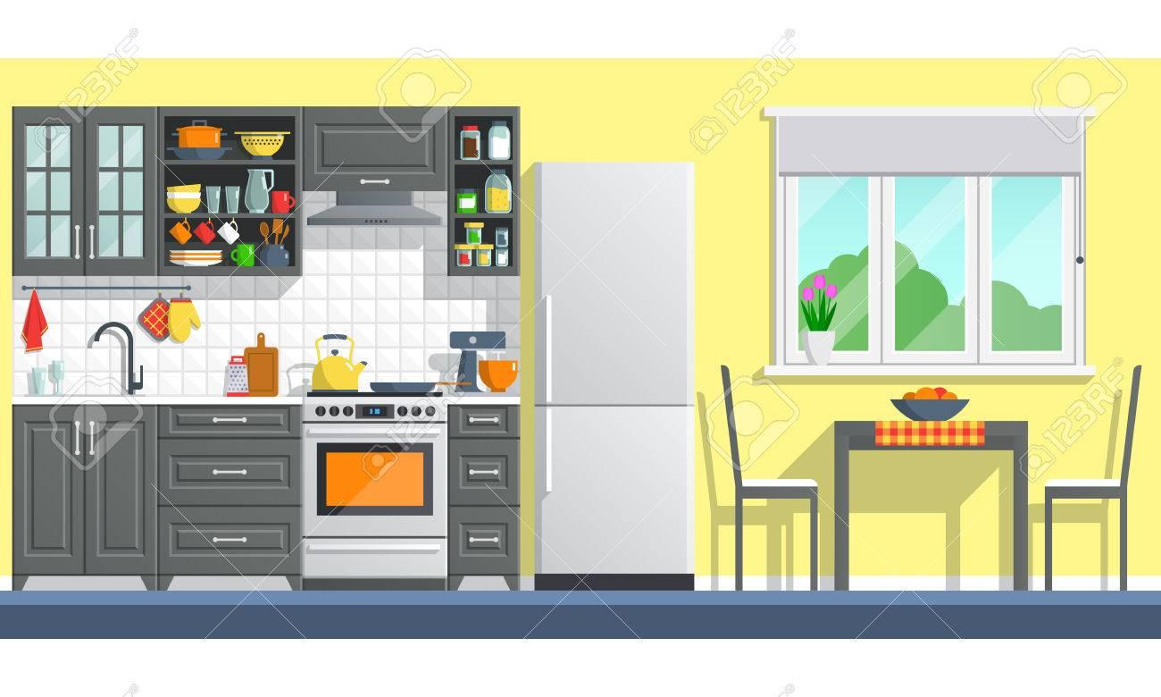 Küche Interieur Mit Tisch, Herd, Schrank, Geschirr Und Kühlschrank ...