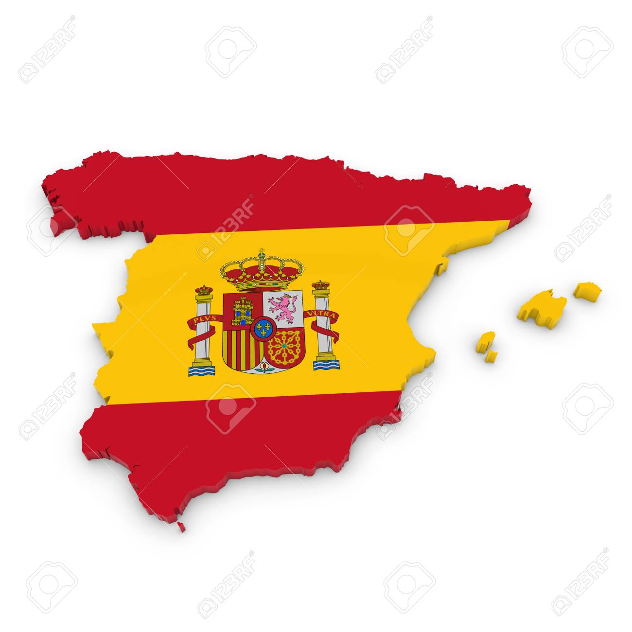 3d Outline Of Spain Textured With The Spanish Flag Stock Photo Picture And Royalty Free Image Image 46393354