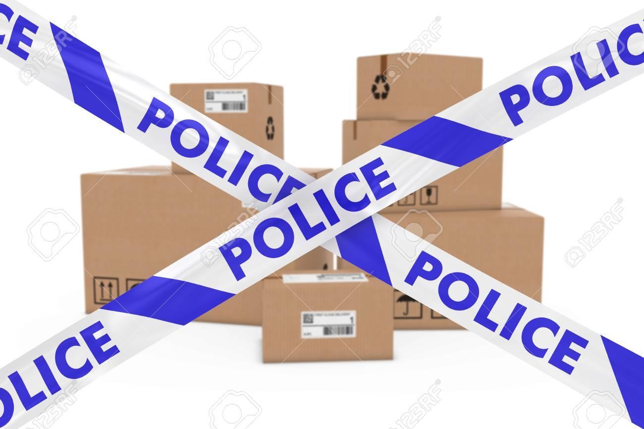 不審な小包コンセプト - テープ警戒線の後ろに段ボールの箱のスタック ...