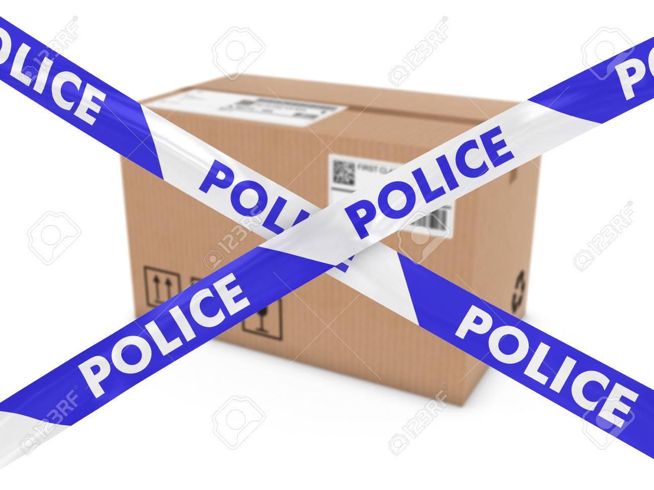 不審な小包コンセプト - テープ警戒線の後ろに段ボール箱 の写真素材 ...