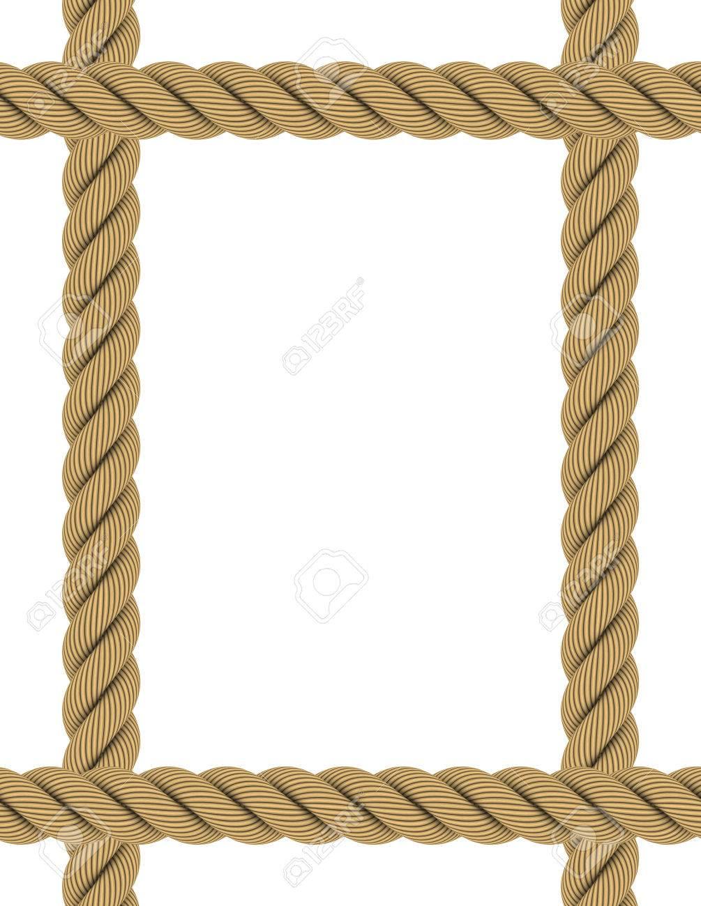 Erweiterte A4 Rechteck Seil Rahmen Isoliert Auf Weiß Lizenzfreie ...