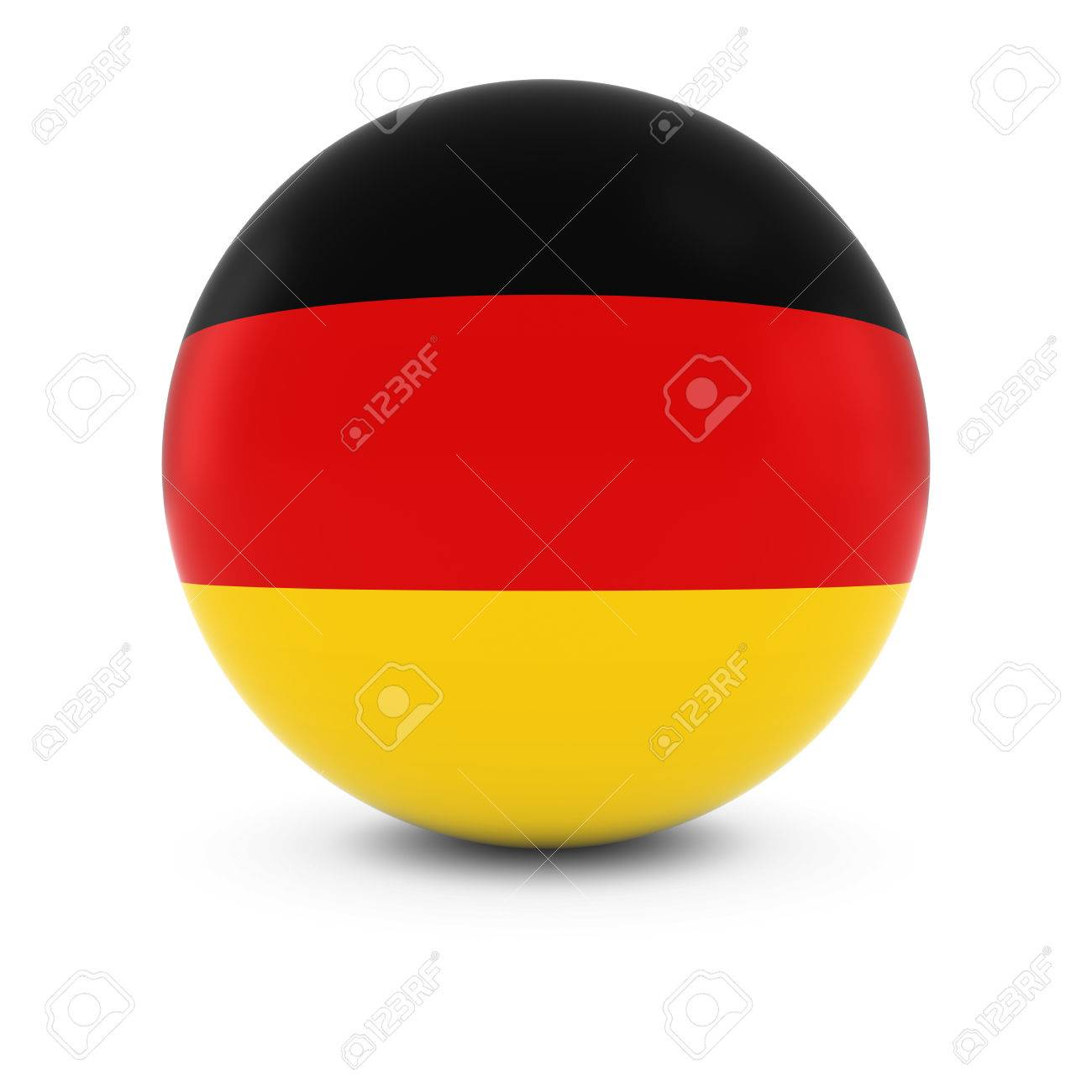german flag ball flag of germany on isolated sphere stock photo