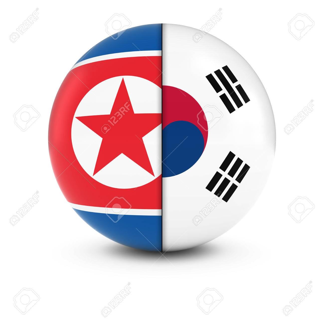 north and south korean flag ball split flags of north korea