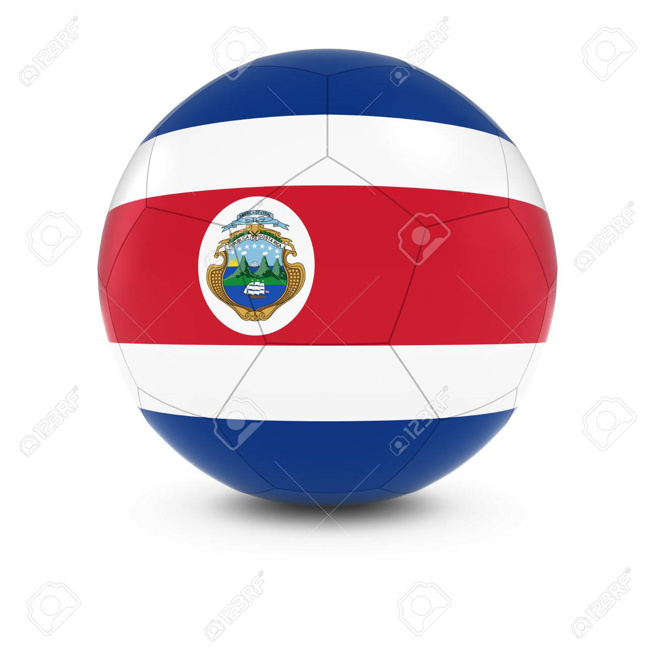 costa rica football costa rican flag on soccer ball stock photo
