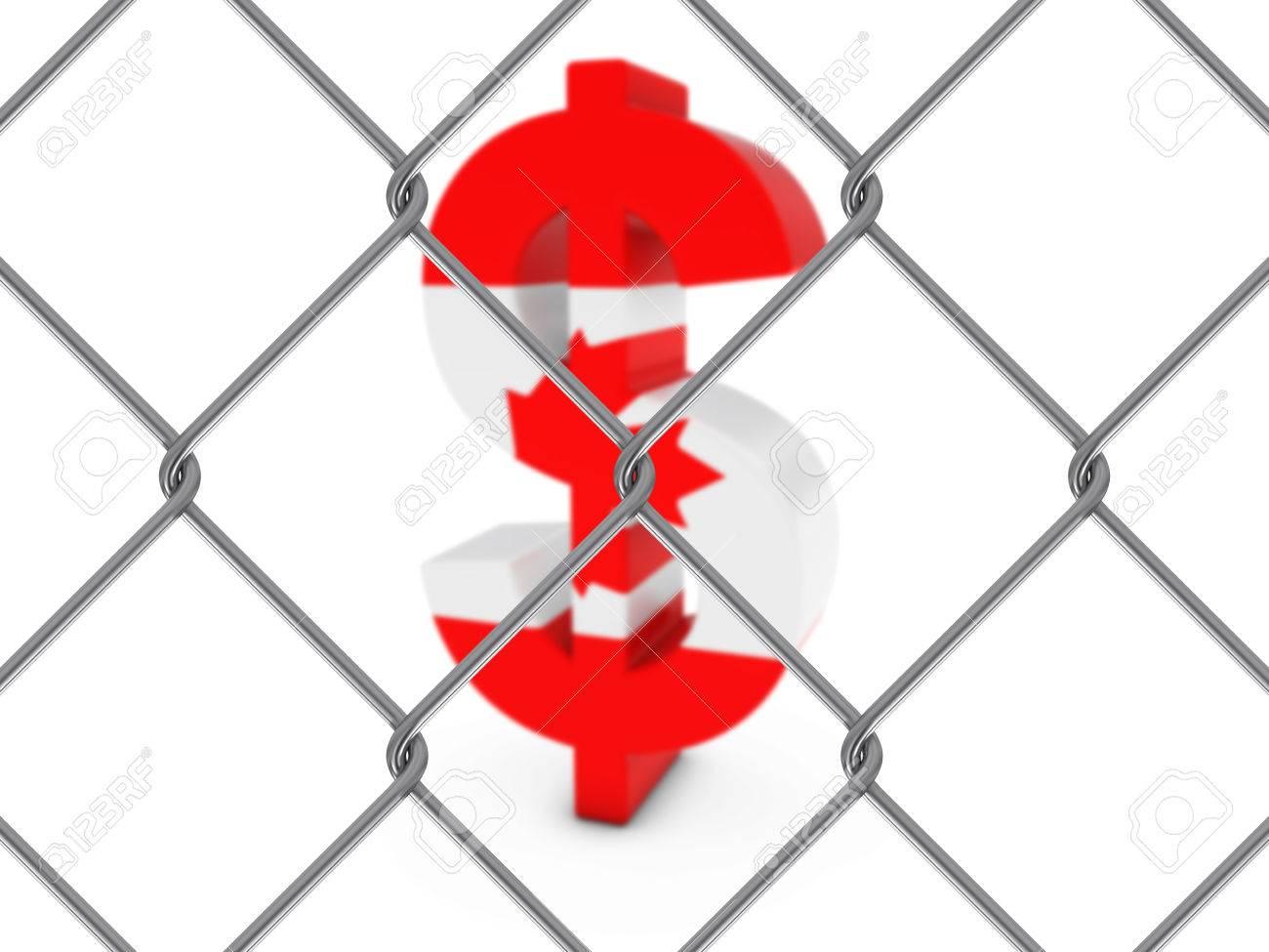 Kanadische Flagge Dollar-Symbol Hinter Maschendrahtzaun Mit ...
