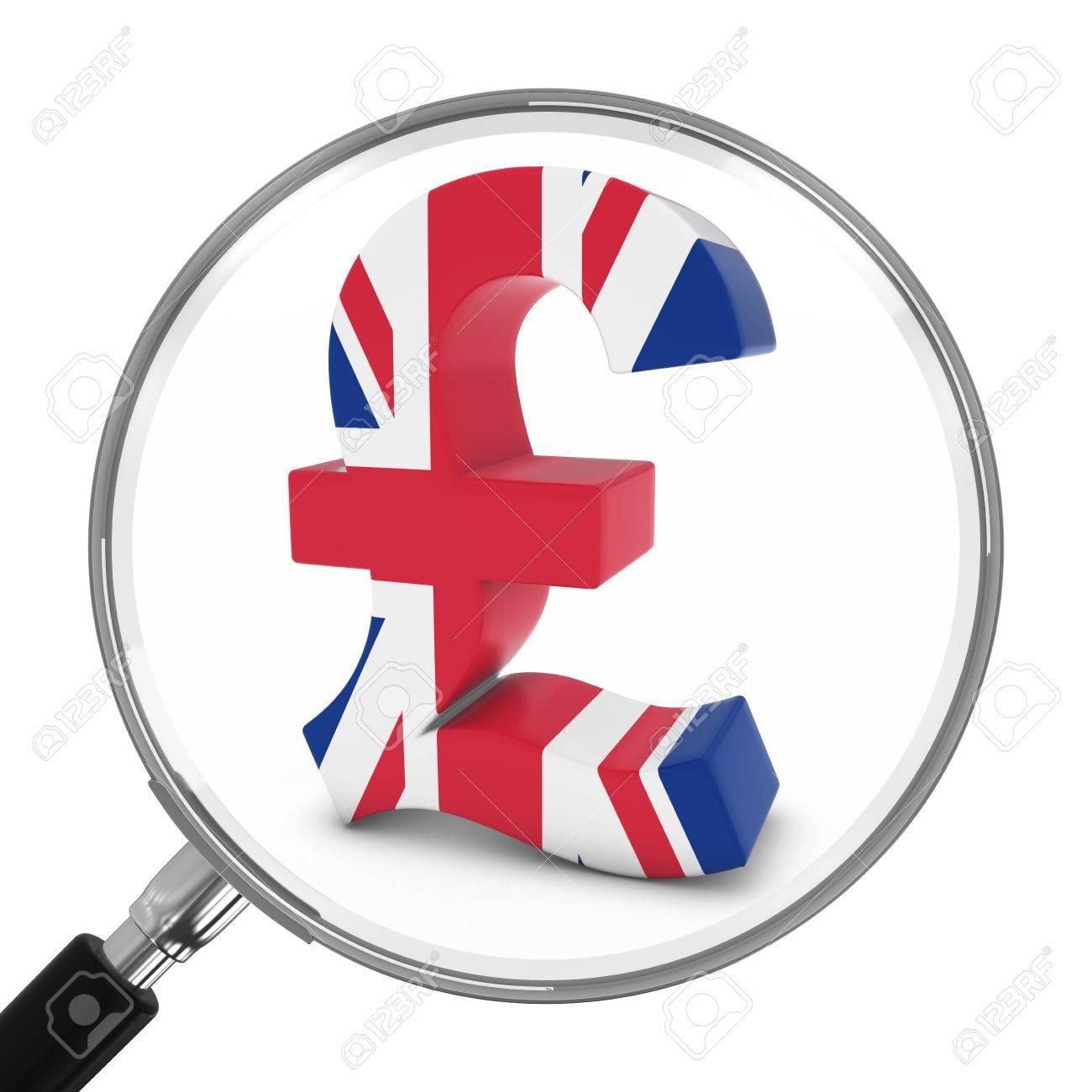 Uk finance concept british pound symbol under magnifying glass uk finance concept british pound symbol under magnifying glass 3d illustration stock illustration buycottarizona