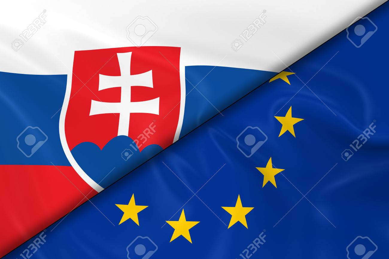 22173f726f Flags of Slovakia and the European Union Divided Diagonally - 3D Render of  the Slovakian Flag