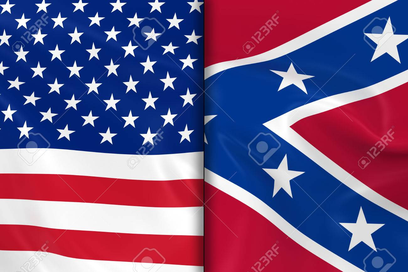 flags of the usa and the confederacy split down the middle stock