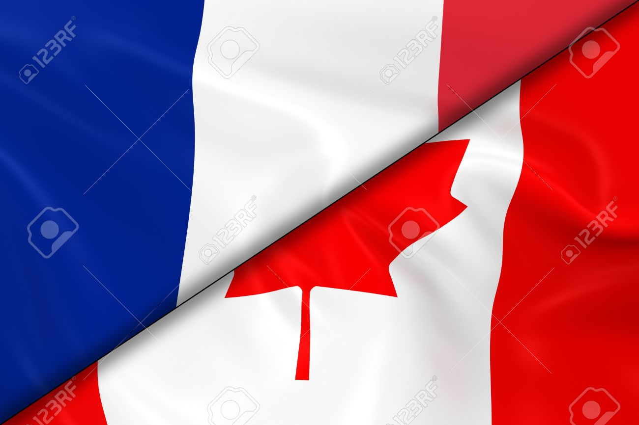 flags of france and canada divided diagonally 3d render of