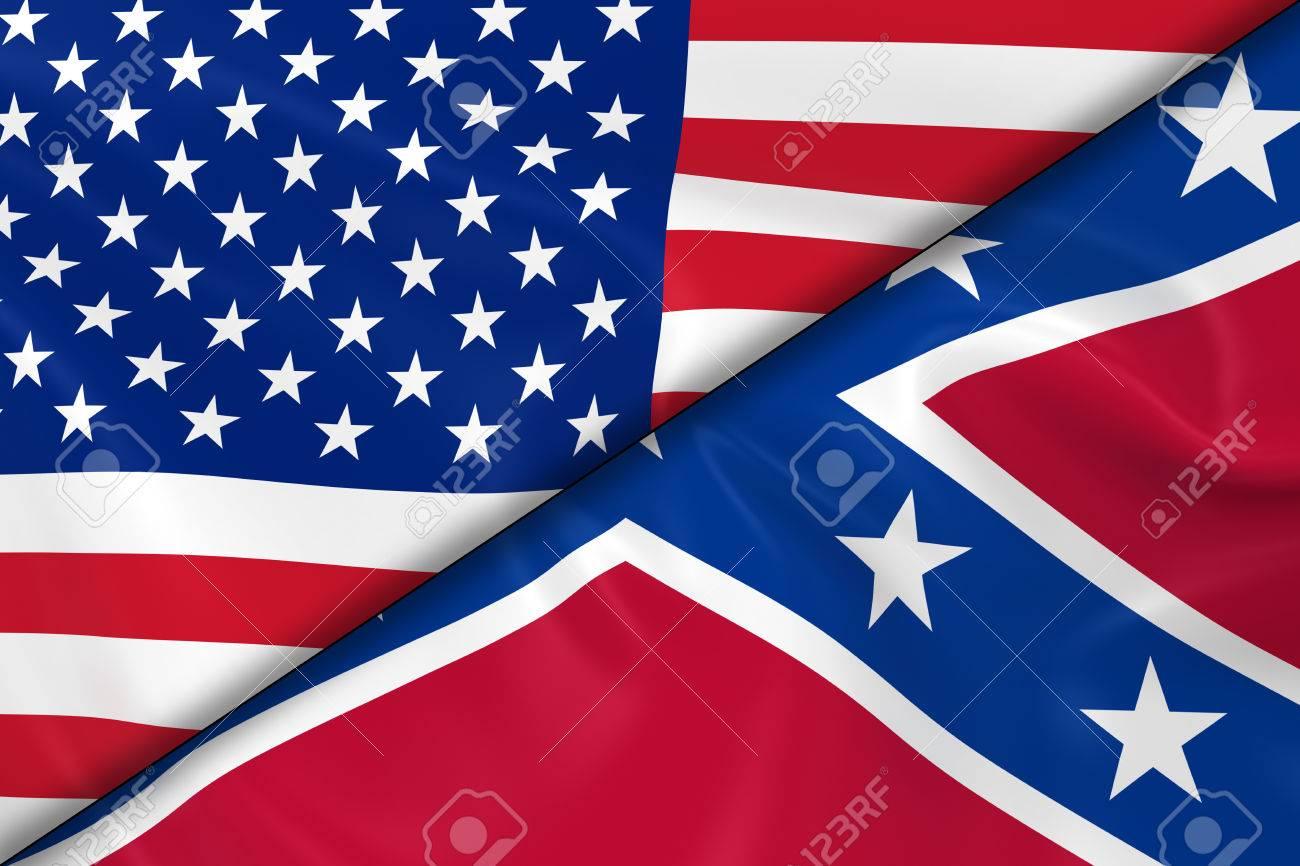Banderas De Los Estados Unidos De América Y La Confederación Divididos Por Una Diagonal 3d De La Bandera De La Bandera Confederada Y Americano Con Textura Sedosa Fotos Retratos Imágenes Y