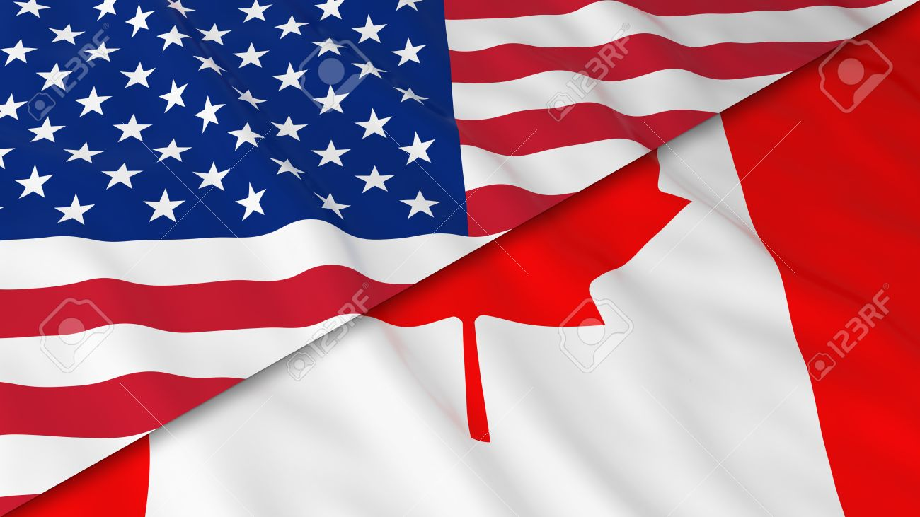 bbc05914e84d Flags of America and Canada - Split Canadian Flag and American Flag 3D  Illustration Stock Illustration